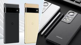 A render image showing Google Pixel 6 vs Samsung Galaxy S22