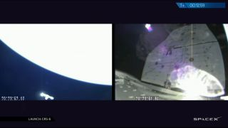 At left: SpaceX's Dragon space capsule soars over Earth in a camera view from its Falcon 9 rocket upper stage after a smooth launch on April 14, 2015. Right: A camera on Dragon shows its solar arrays unfold.