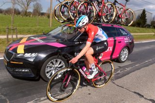 Christine Majerus at the SD Worx car during the Brugge-De Panne Classic