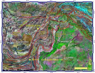 Location of the Chaman Fault in Pakistan.