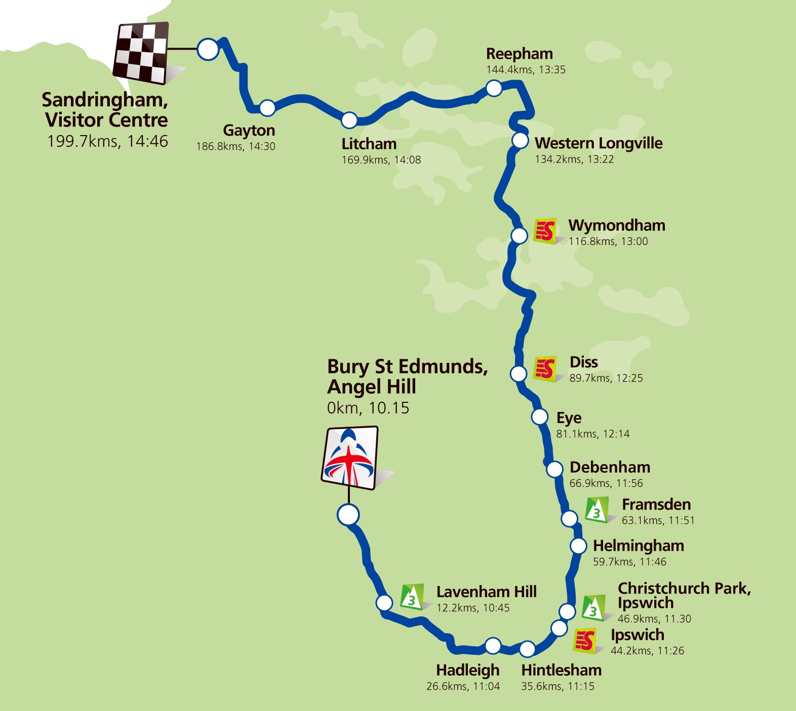 Stage 7 map, Tour of Britain 2011