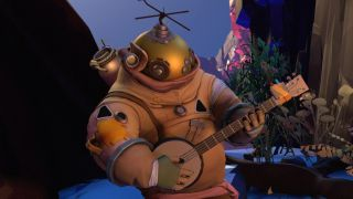 A friendly astronaut strumming a banjo in Outer Wilds.