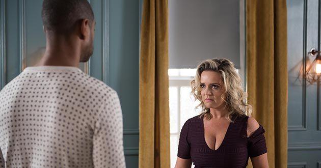 Joanne Cardsley holds Louis Loveday hostage in Hollyoaks
