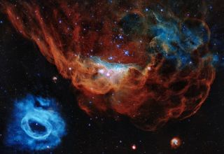 Two nebulas burst to life in the next-door galaxy.