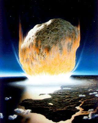 An artist's depiction of the asteroid impact that wiped out the dinosaurs.