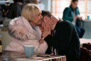 Pam Coker craddles Ben Mitchell in EastEnders