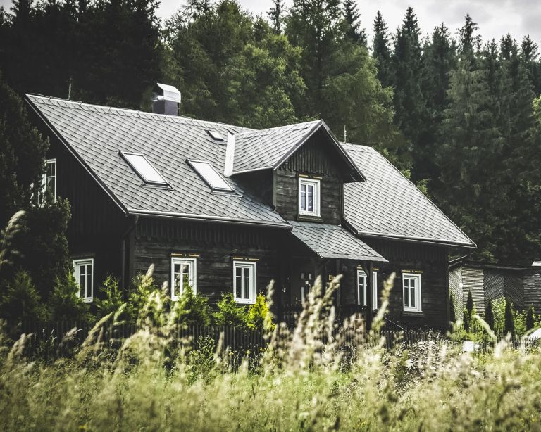Black house in countryside