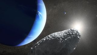 A NASA illustration shows Neptune's moons. In the foreground is Hippocamp, discovered in 2013.