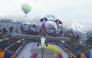 A plane flying to the goal in a Mario Kart course.