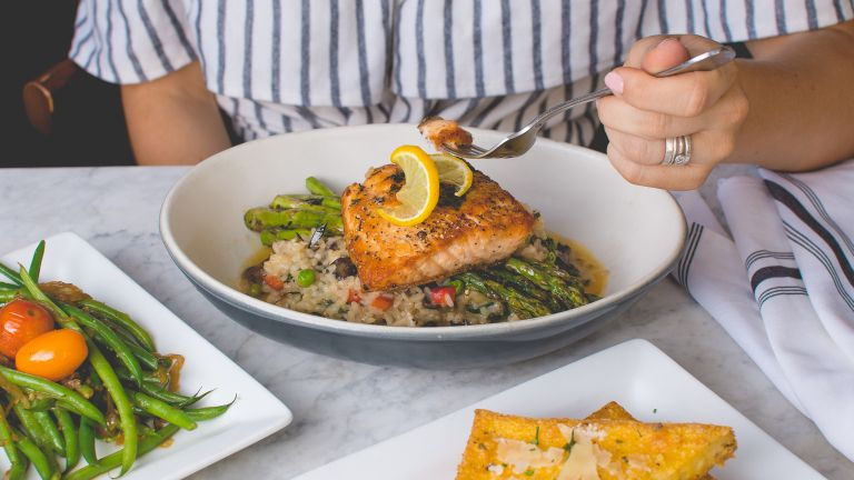 Vitamin D foods: salmon and brown rice