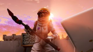 A Fortnite astronaut reads a picket sign.