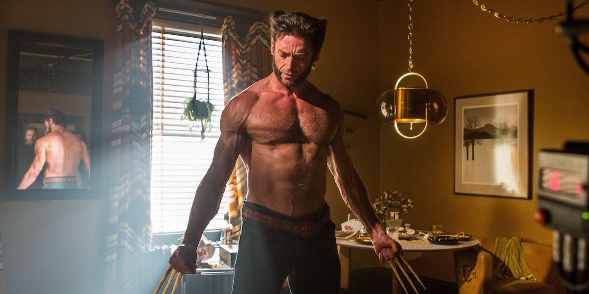 Hugh Jackman shirtless in X-Men: Days of Future Past