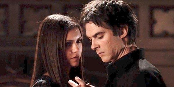 The Vampire Diaries Elena and Damon Nina Dobrev Ian Somerhalder