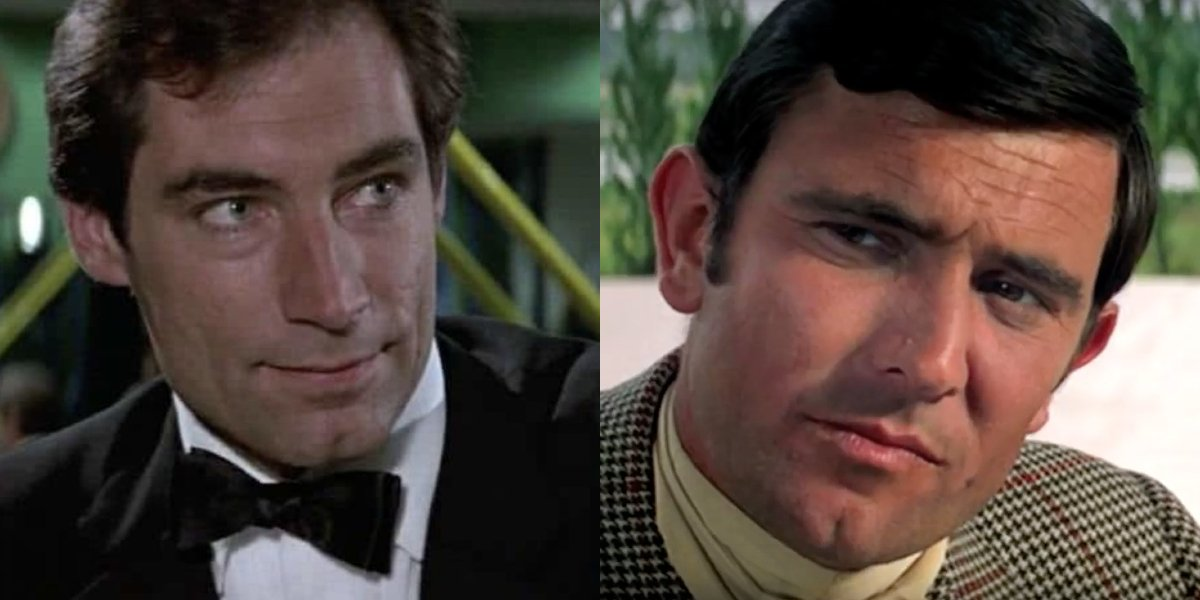 Timothy Dalton and George Lazenby side by side