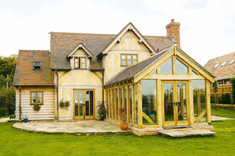 How to add an oak frame extension real homes for Oak framed house designs