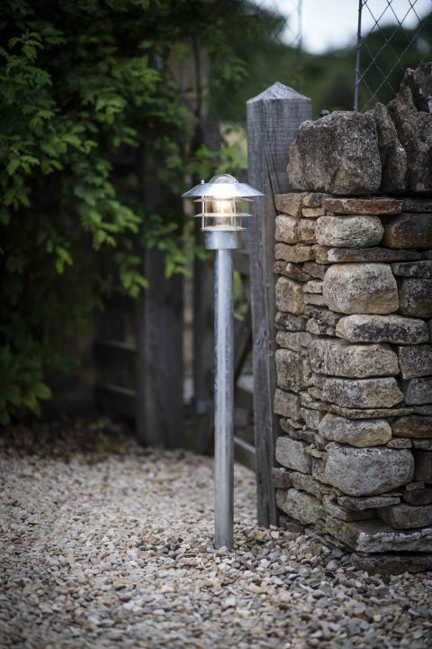 Galvanised St Ives Wall Mounted Path Light Mains By Garden Trading