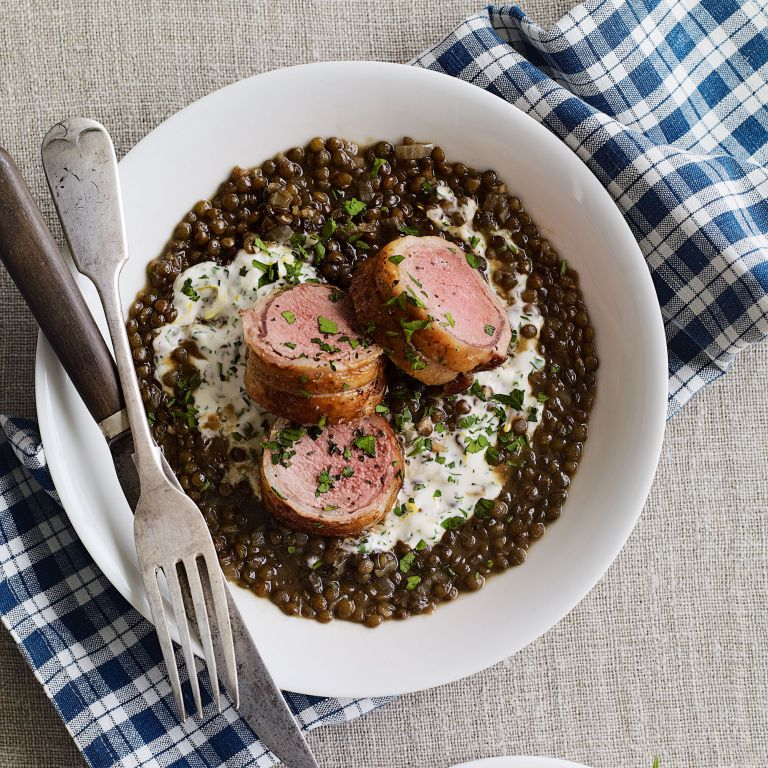 Lamb Fillet with Creme Fraiche and Herb Lentils recipe-recipe ideas-new recipes-woman and home