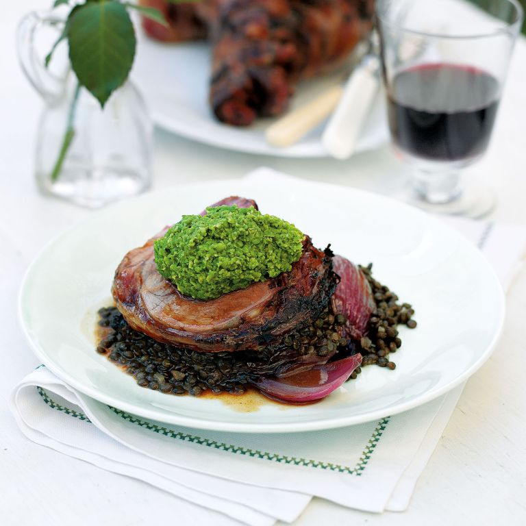 Boned Garlic Lamb with Sweet and Sour Red Onions and Lentils Recipe-new recipes-woman and home