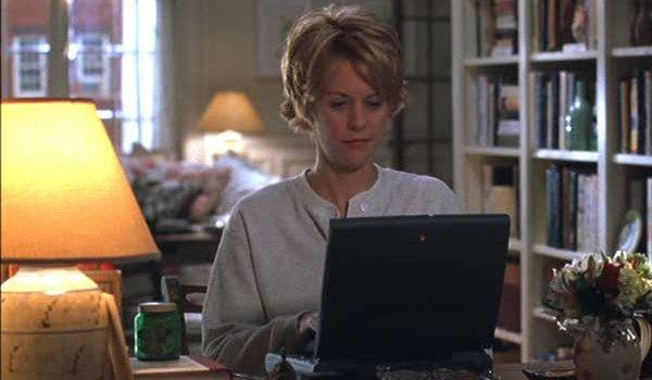 Meg Ryan on laptop You've Got Mail