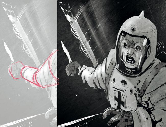 Laki-laki berjas ruang, di luar kapal ruang angkasa, berteriak