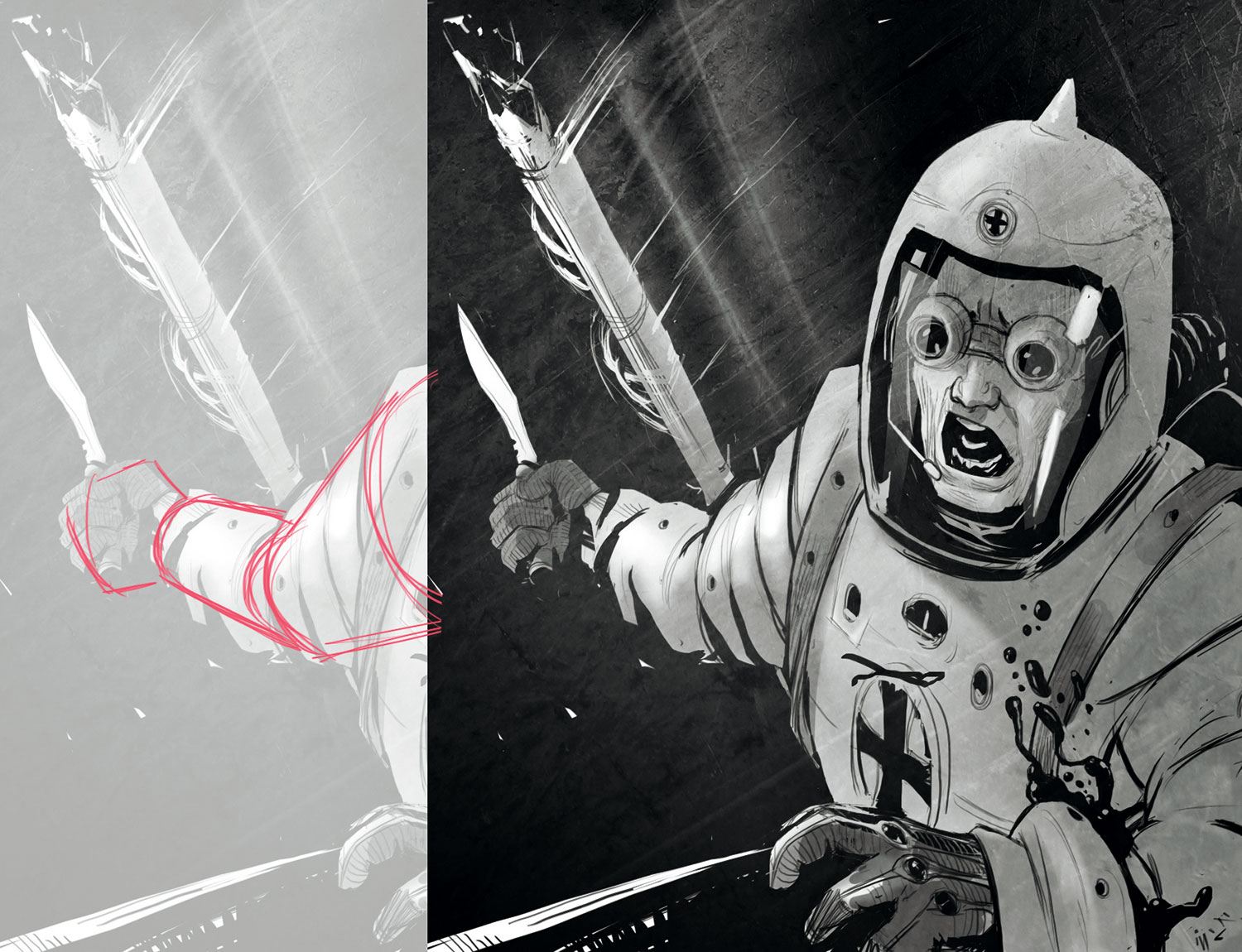 Man in a space suit, outside a space ship, screaming