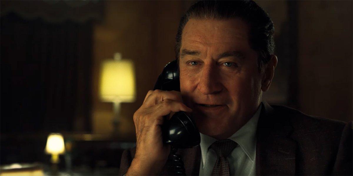 Robert De Niro talking on the phone in The Irishman