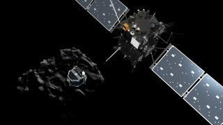 An artist's illustration of the European Space Agency's Philae lander (left) after being released from its Rosetta spacecraft mothership on Nov. 12, 2014 to begin a seven-hour descent to the surface of Comet 67P/Churyumov-Gerasimenko. It is the first time