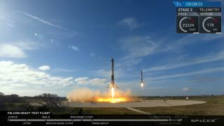 SpaceX's Falcon Heavy rocket launched from its launchpad in Cape Canaveral, Florida, on Feb. 6, 2018.