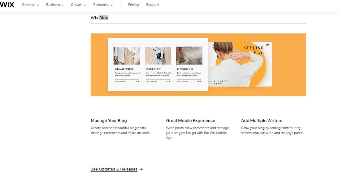 Le site Web du service de blog de Wix expliquant ses fonctionnalités
