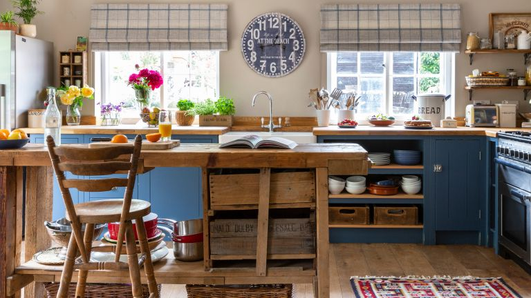 bespoke blue kitchen in 18th century farmhouse