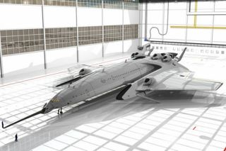 Futuristic airliner with fusion reactor