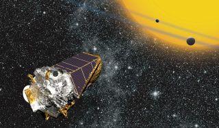 An artist's illustration of NASA's Kepler space telescope observing alien planets in deep space.