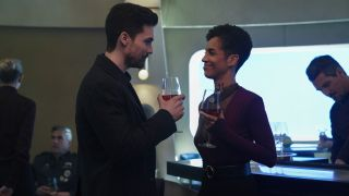 "Steven Strait as Jim Holden and Dominique Tipper as Naomi Nagata in Season 5 of ""The Expanse."""