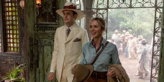 Jack Whitehall and Emily Blunt enter a room with attitudes in Jungle Cruise.