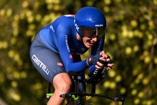 TRENTO ITALY SEPTEMBER 09 Vittoria Guazzini of Italy sprints during the 27th UEC Road Cycling European Championships 2021 U23 Womens Individual Time Trial a 224km race from Trento to Trento UECcycling ITT on September 09 2021 in Trento Italy Photo by Justin SetterfieldGetty Images