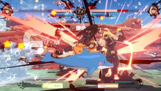 a dolphin interrupts a guilty gear fight