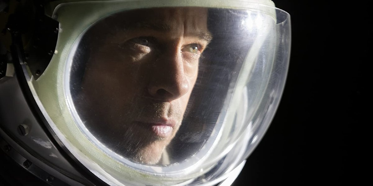 Ad Astra Brad Pitt looking into the darkness of space