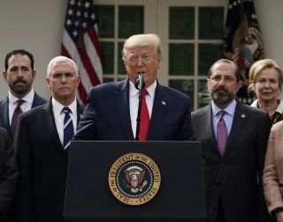 President Donald Trump declared a 'national emergency' over COVID-19 at a news conference in the White House Rose garden on March 13.