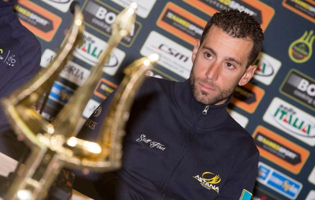 Italian rider Vincenzo Nibali (Astana) at the pre-ride press conference of Tirreno-Adriatico. Photo: ANSA/CLAUDIO PERI