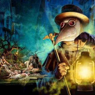 Artist's depiction of a plague doctor and people dying of plague.