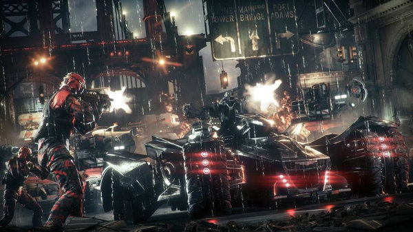 Batmobile fighting Arkham Knight's goons