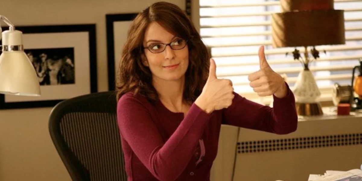 Tina Fey's character sitting in her office on 30 Rock.