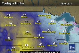 Jan. 3 temperatures across the Midwest. Credit: The Weather Channel