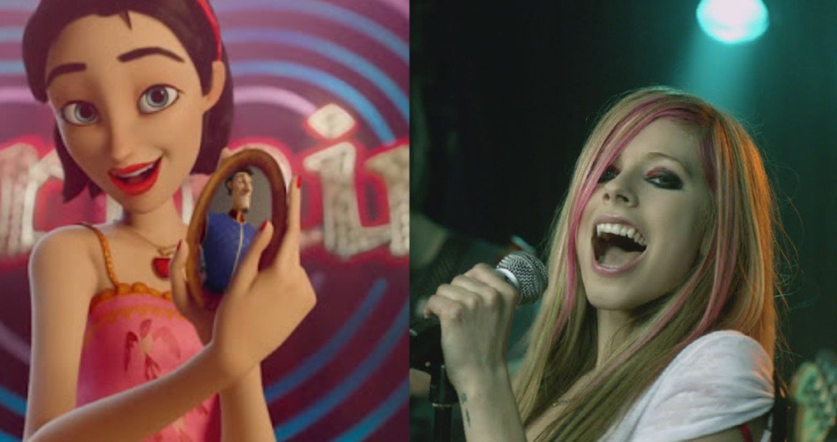 """Snow White in Charming/Avril Lavigne in """"What the Hell"""" music video"""