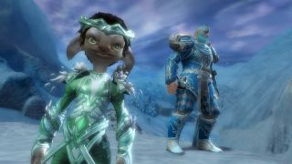 Cute characters stare into the camera, their armour glowing against the icy sky