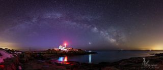 Milky Way Rises Over Lighthouse by A. Garrett Evans