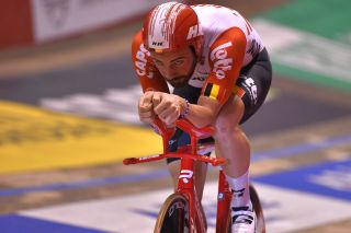 Lotto Soudal's Victor Campenaerts sets a new 5,000-metre track record of 5:51:00 at the t'Kuipke velodrome on the final night of the 2019 Gent Six Day