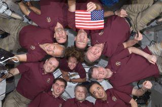 10 astronauts of NASA's shuttle Atlantis and Space Station on final shuttle flight