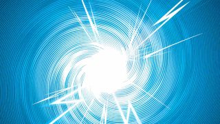 Bolts of white electricity fly out of spiral blue background