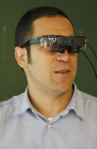 Man wearing smart glasses